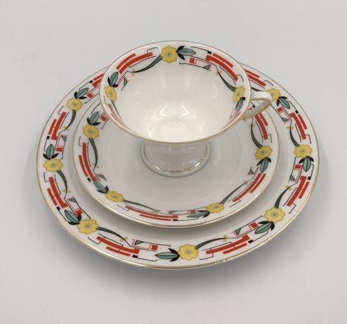 Trio Zeh Scherzer porcelanowe filiżanka art deco antyk 30ste vintage