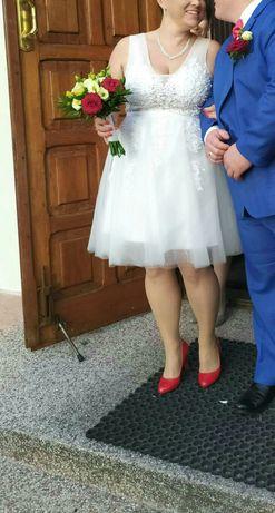 Piękna krótka sukienka ślubna XXL/ plus size/42-44 ecru