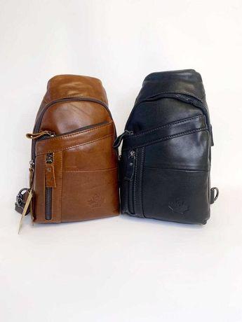 Нагрудная мужская сумка через плечо, бананка, слинг. НАТУРАЛЬНАЯ КОЖА