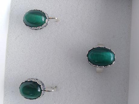 Продам новый набор серебро 925*, кольцо р.21 зеленый улексит