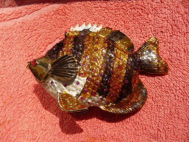 """Мини-шкатулка """"Рыбка"""" : бронза, с эмалью, камнямиСваровски"""