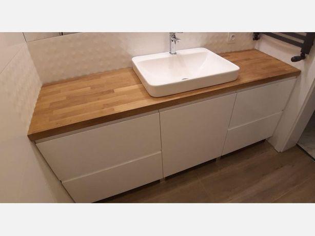 Szafka pod umywalkę z drewnianym blatem - meble łazienkowe na wymiar