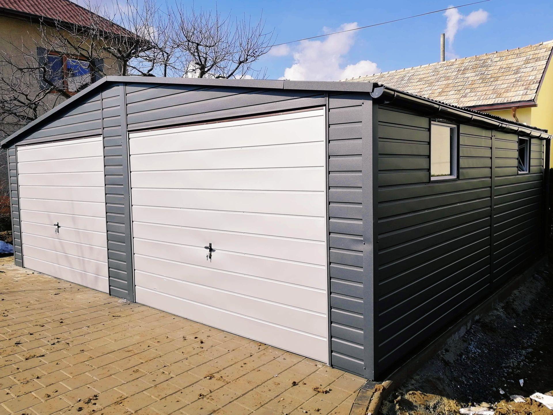 Garaż blaszany 7x6 antracyt grafit profil zamknięty szybkie terminy