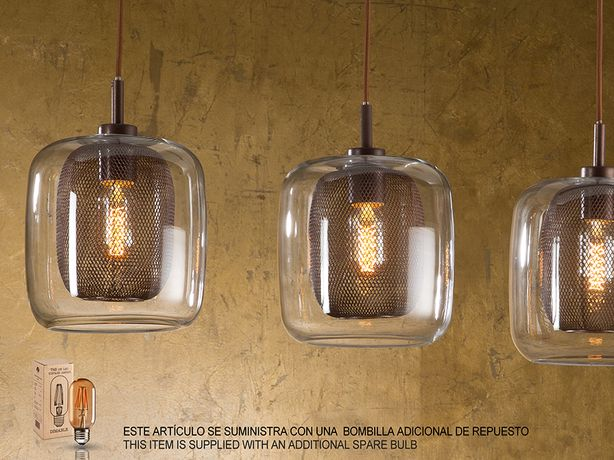Lampa Schuller FOX 653422 wisząca żyrandol 4xE27 metal szkło + żarówki