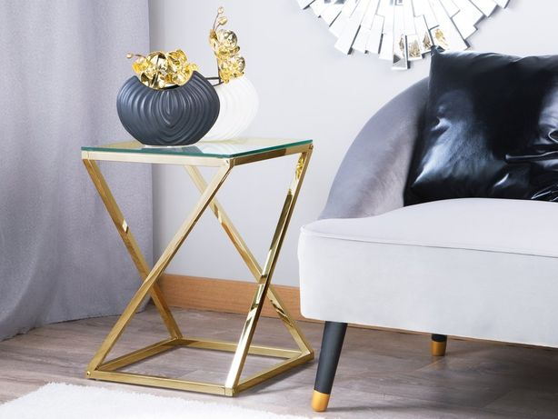 Mesa de apoio dourada com tampo de vidro BEVERLY - Beliani