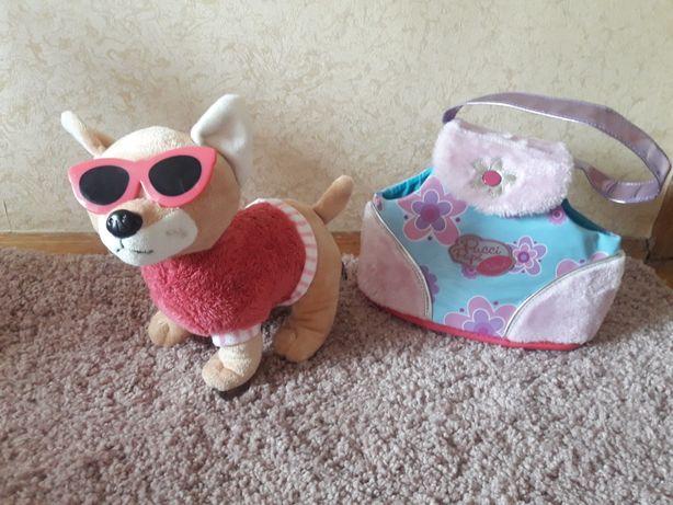 Чихуахуа собака в переноске мягкая игрушка аналог чи чи лав 24х24 см