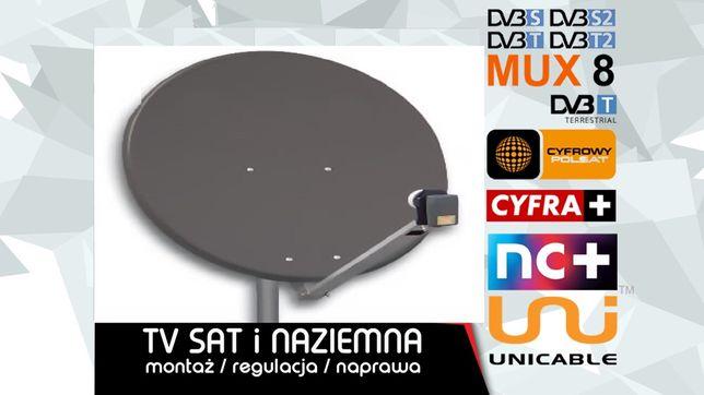 Montaż ustawienie serwis Anteny Satelitarnej Naziemnej DVBT Busko