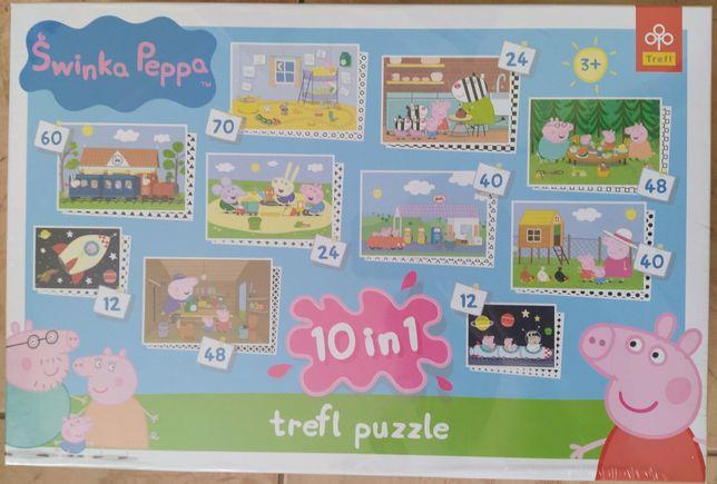 Puzzle 10 w 1 TREFL - Świnka PEPPA prezent