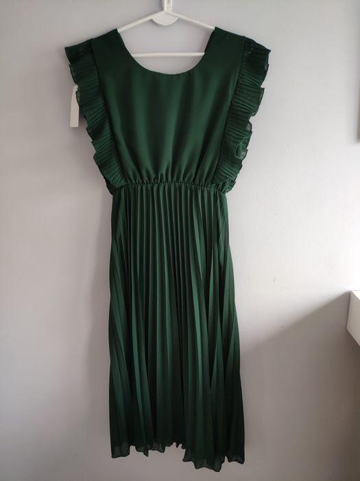 Nowa sukienka butelkowa zieleń MIDI motylek plisowana Białystok - image 1