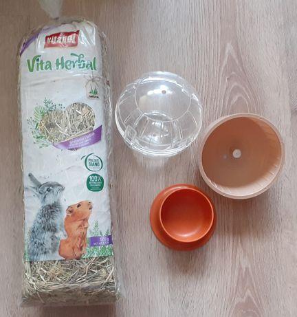 zestaw dla chomika - kołowrotek kula miseczka siano Vitapol