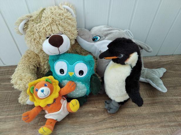 М'які іграшки пакетом ,мягкие игрушки пакетом мишка лев дельфин пингви