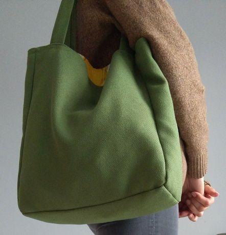 Torba damska shopper mieści A4 hand made