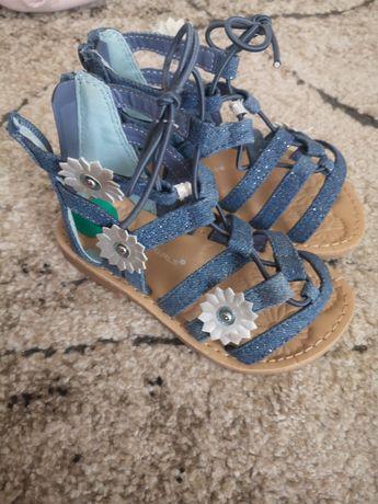 granatowe niebieskie Sandały dla dziewczynki rozmiar 26 25