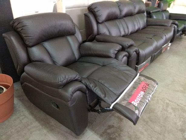 Шкіряний комплект диван + крісло з реклайнером в наявності!