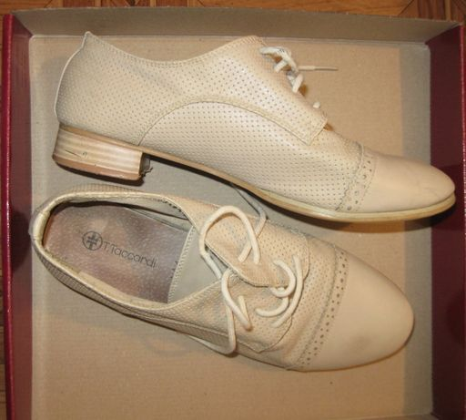 туфли женские школьные бежевые кожа
