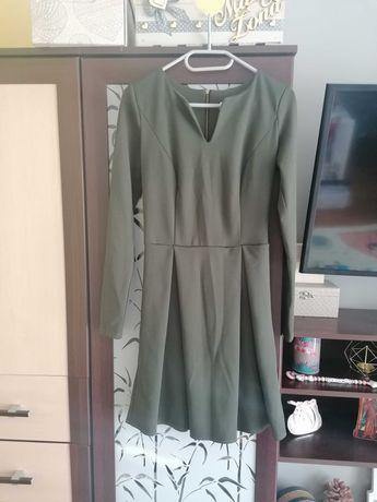 Ciemnozielona/zgnita zieleń sukienka z długim rękawem VUBU XS/165 cm
