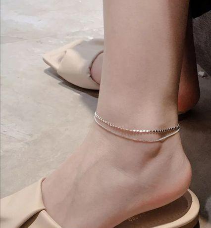 Łancuszek bransoletka na nogę srebrna 925 nowa