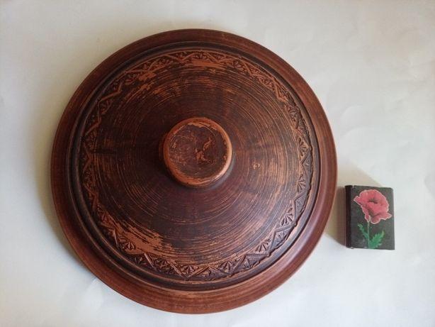 Глиняная жаропрочная крышка для сковороды или кастрюли для запекания