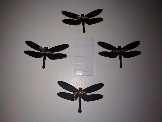 20 шт черная бумажная стрекоза декор на окна стены двусторонний скотч