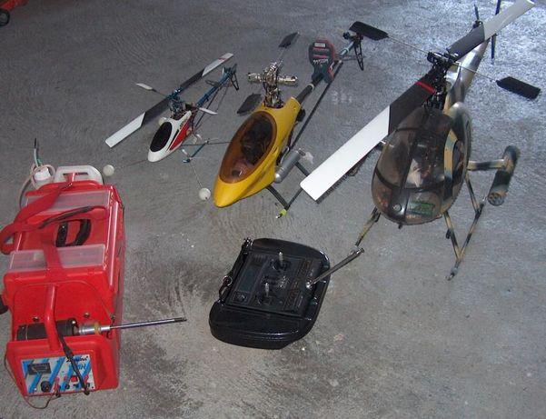 Três Helicópteros mais rádio de 12 canais