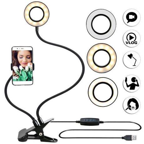 Держатель для телефона с LED подсветкой кольцо на прищепке для стрима
