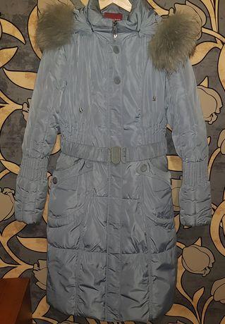 Серый зимний пуховик