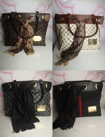 Torba Louis Vuitton Lv Gucci z chustą Nowa premium