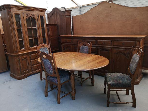 Dębowa jadalnia komoda witryna okrągły rozkładany stół z 4 krzesłami