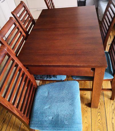 Sprzedam komplet: DREWNIANY rozkładany stół + 6 krzeseł