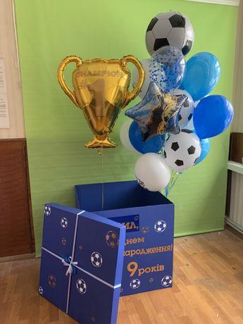 Коробка сюрприз с шариками, посуда, свечи, шарики гелиевые, флажки