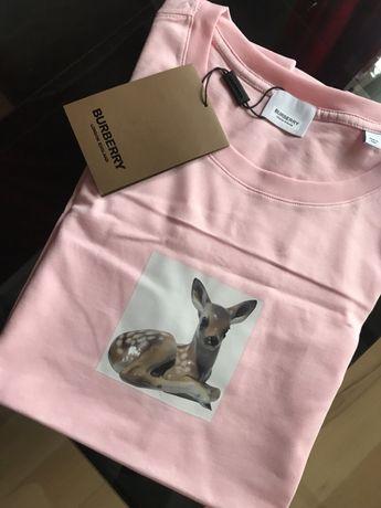 Podkoszulek Burberry różowy sarenka Bambi M siwiec tshirt