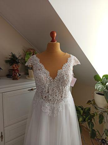 Nowa suknia ślubna Plus Size biała rozmiar 52 54