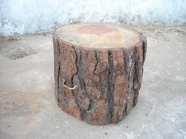 Cepo tronco banco de pinheiro manso com 2 pegas