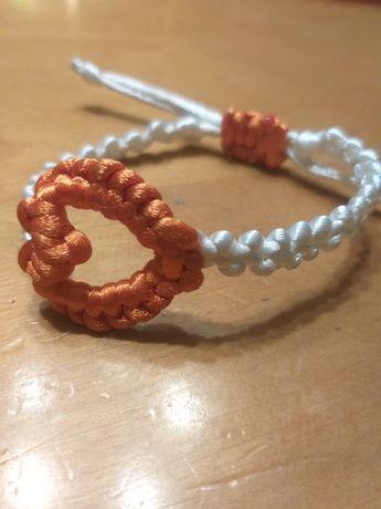 Bransoletka hand made serce sznurkowe