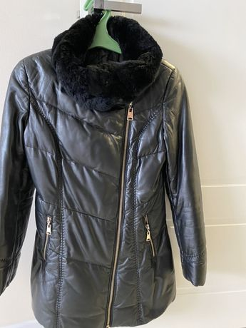 Кожаная удлиненная куртка
