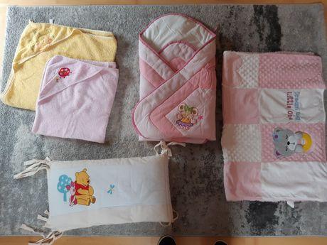 Akcesoria niemowlęce- rożek, kocyk,  ręczniki z kapturkiem + gratisy