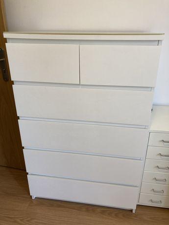 Cómoda IKEA MALM  c/6 gavetas, branco, como nova