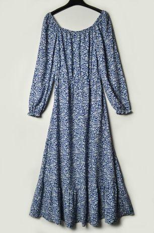 Длинное вискозное платье в принт