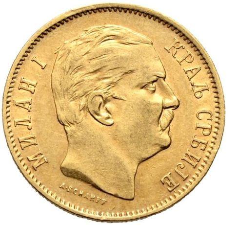 Złota moneta 10 Dinarów 1882 r. Serbia