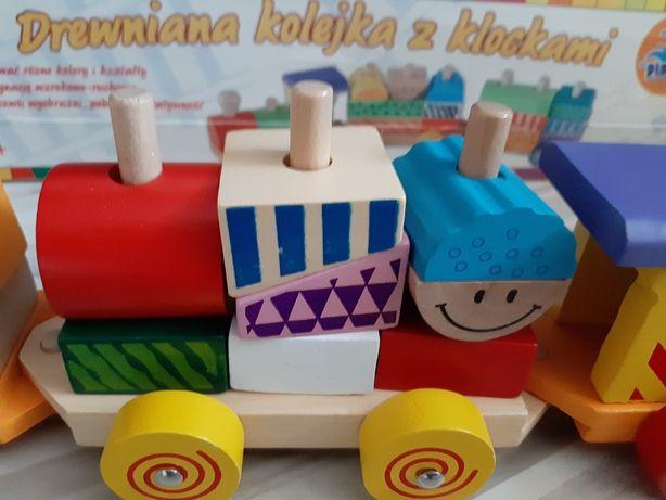 Pociąg drewniany - klocki firmy Playme 1+