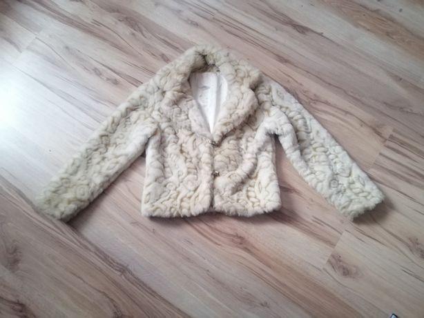 Sztuczne futerko kurtka stylowa futrzak xl ecri białe nude L 44 42