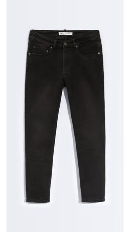 ZARA Skinny Jeans Calças Ganga Carvão Preto 42