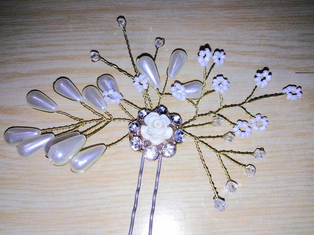 Украшение на шпильке заколка для прически невесты (ручная работа)