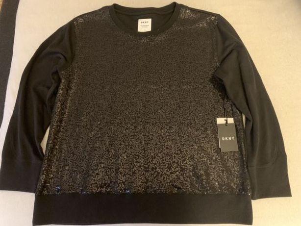 Donna Karan New York bluza czarna cekiny XL