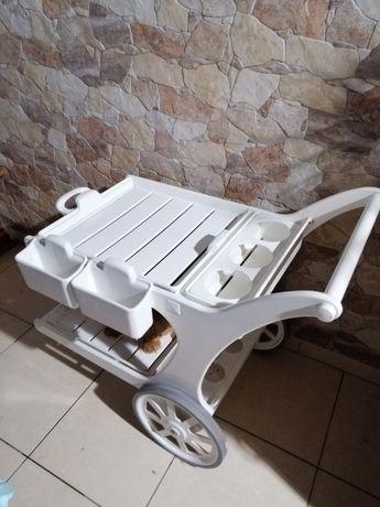 Carrinho de apoio piscina ou esplanada, em pvc branco
