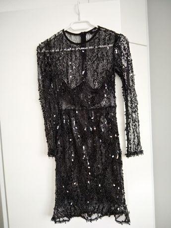 Sukienka czarna cekiny koronka