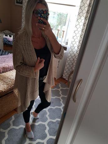Sweter długi kardigan narzutka beżowa