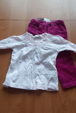 Skompletowałam : spodnie Reserved +bluzka H&M, rozmiar 80,