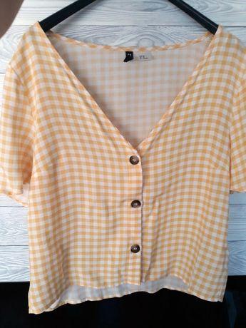 bluzka z guziczkami, biało-żółta kratka. H&M 38 guziki jak nowa