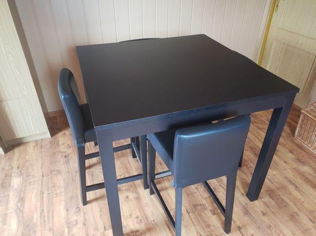 Wysoki Stół z krzesłami brązowymi IKEA